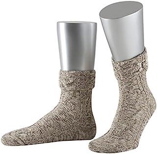 Lusana 男士折边袜,带缝制珍贵白色标志,民族风袜
