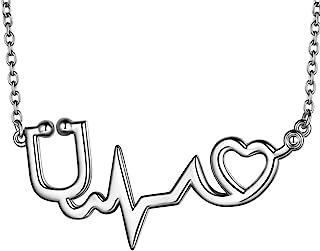 beautlace Lifeline Pulse Heartbeat Charm 项链 18K 金/银/黑色枪镀护主题 听诊器吊坠首饰 男女皆宜 KP0159