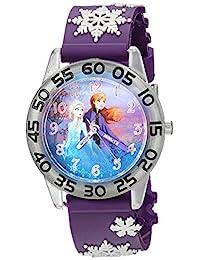 DISNEY 女童冰雪奇緣 2 模擬石英手表塑料表帶,紫色,16(型號:WDS000778)