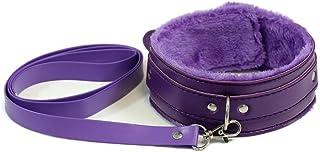 柠檬草紫色皮革项圈和皮带颈圈可调节项链带链可拆卸,适合男士女士