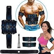 eAnjoy EMS 墊子,ABS 刺激肌肉爽身帶,腹部肌肉訓練器,腹部肌肉訓練器,適合腹部、手臂和腿部,6 種模式8 級,USB 充電(8 件裝)