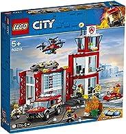 LEGO 乐高 60215 城市消防站车库积木套装,带卡车玩具,水上摩托车无人机和 3 个消防员迷你人物 灯光和声音积木,儿童消防玩具