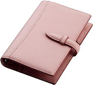 Brelio 活页笔记本 Saffiano 摩洛哥十字纹皮质 16 毫米活页扣 573 粉色