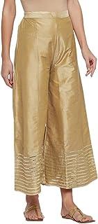 Kalidaar 丝质阔腿裤,适合女孩和女士 休闲穿着,外出,瑜伽,缝合金色蕾丝(Gota)