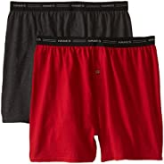 Hanes Red Label Men's 2-Pack Exposed Waistband Knit Boxers, Assorted, X-L
