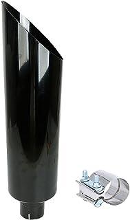 LucaSng 4 英寸(约 10.2 厘米)入口 7 英寸(约 17.8 厘米)出口光泽黑色不锈钢斜切柴油排气管(堆叠吸烟器 4 英寸(约 10.2 厘米)ID 入口 36 英寸(约 91.4 厘米)长带夹钳)