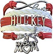 Sportybella Hockey Mom 手链,曲棍球妈首饰,冰球妈礼物,适合有曲棍球运动员的妈妈
