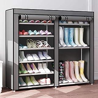 VLikeze 鞋架收纳架,7 层双排鞋靴架,带无纺布织物罩鞋柜塔,适用于衣橱入口壁橱衣室 - 适合 24-27 双(灰色)