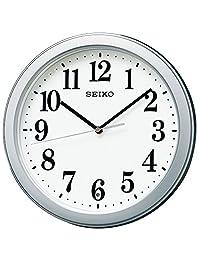 Seiko 精工 掛鐘 02:銀色金屬機身 尺寸:直徑28 x 4.8 cm 模擬 無線電波 小巧尺寸 無價格標簽 BC404S
