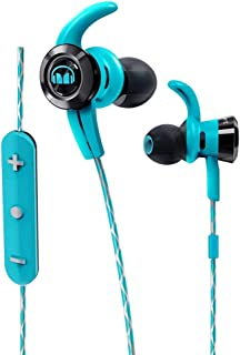 Monster 魔声 iSport Victory 蓝牙无线入耳式耳机(耳塞) - 蓝色带麦克风、运动耳机,跑步,噪音隔离(蓝色)