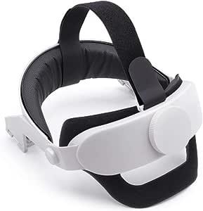 Virtual Reality 眼镜头带可调节头带,适用于 Oculus Quest2 VR 眼镜配件,吸汗头带减少头部压力保护头部游戏头垫