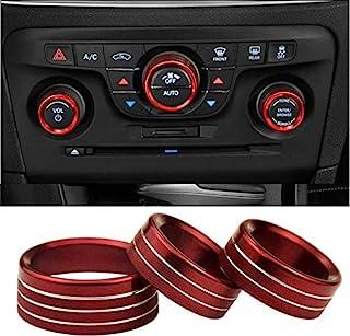 YuYue 电子控制旋钮套,定制音量交流电收音机开关按钮贴花装饰环 3 件套 - 兼容 Dodge Challenger/Charger (2015-2019) 红色