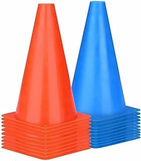 CHERAINTI 9 英寸(约 22.9 厘米)橙色锥体运动,20 个装用于足球练习的交通训练锥体,用于训练足球篮球,塑料锥体,适合户外活动或活动-2 种颜色