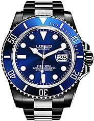 LOREO 奢华男士黑色不锈钢夜光蓝宝石玻璃旋转表圈日期防水商务男士自动手表