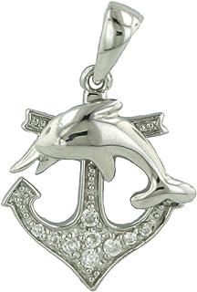 Tisoro 标准纯银锚坠饰,带海豚和方晶锆石 - * 低*性珠宝