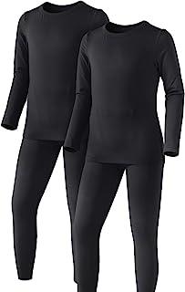 ATHLIO 儿童冬季保暖内衣长裤套装,羊毛内衬保暖打底层,寒冷天气的上衣和下装