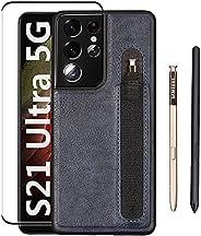 三星 Galaxy S21 Ultra 手机壳,带 S 笔筒和屏幕保护膜钢化玻璃,时尚纤薄 PU 皮革减震保护套,适用于三星 Galaxy S21 Ultra 5G 6.8 英寸(蓝色)