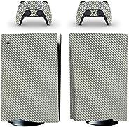 Adventure Games - 碳纤维,金属银 - 乙烯基控制台皮肤贴花贴纸 + 2 个控制器皮肤套装 - 兼容 PlayStation 5 标准版