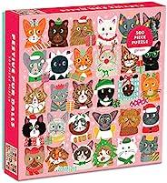 Galison 节日毛绒球拼图,500 片 – 猫咪拼图以 Liza Lewis 的节日插图为特色 – 厚实、坚固的拼块、具有挑战性的家庭活动,是送礼佳品,20 x 20 英寸(约 50.8 x 50.8 厘米)