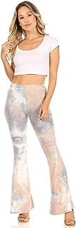 SWEETKIE 波西米亚喇叭裤,弹性腰围,女式阔腿裤,纯色和印花,弹性柔软 Gray Taupe 1340 X-Small