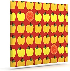 "Kess InHouse Jane Smith""秋季季季""橙色红色户外帆布墙艺术 24"" x 30"" 橙色 JS1012AAC05"