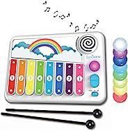 LEXIBOOK K340 Xylofun 儿童电子教育木琴,音乐玩具游戏,8 键,光导,包含 2 个木槌,白色/蓝色