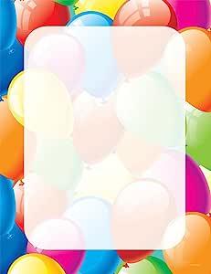 优质纸张! 气球边框字母,80 支,21.59 cm x 27.94 cm (2013168) Balloon Border