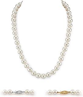 珍珠球 14K 黄金 AAA 级质量圆形白色淡水养殖珍珠项链适合女士,45.72cm 公主长度