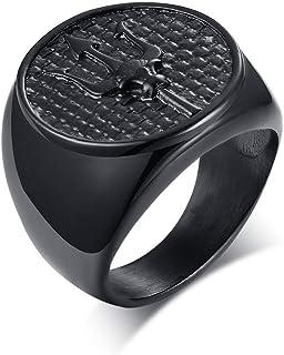 PJ Jewelry Poseidon Trident Medallion Signet 环不锈钢古希腊护身符戒指,男士礼物,水手礼物