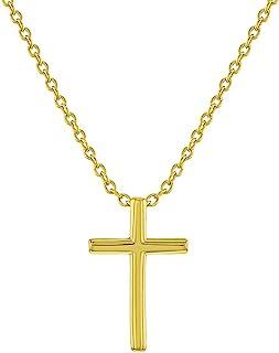 925 纯银 40.64 厘米普通中性款十字架项链 - 完美的宗教吊坠和链子,独特的经典十字架,适合男孩和女孩。