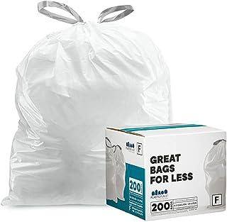 "Plasticplace 定制适合垃圾袋,Simplehuman Code K 兼容,10 加仑/38 升白色拉绳环,24.4"" x 28"" 白色 200 Count TRA200WH"
