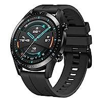 HUAWEI 华为 GT 2 智能手表(46mm全彩AMOLED,SpO2监测,心率测量,音乐播放和蓝牙电话,5ATM防水,GPS),亚光黑[独立+ 5 EURO Amazon优惠券]