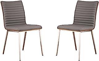Armen Living Café 餐厅椅,灰色厨房和餐椅拉丝不锈钢,核桃木背面,33.5英寸 x 17英寸x 22英寸/约85.09cm x 43.18cm x 55.88cm