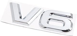 uxcell 银色金属 V6 图案粘合徽章贴花汽车贴纸