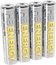 HEITECH AAA Micro 950 mAh 1.2 V 镍氢电池 TÜV 测试 4 件 可充电电池 低自放电电池 适用于高耗电量设备