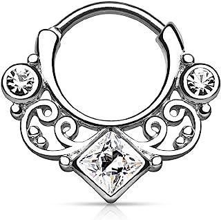 穿孔猫头鹰 16GA 金银丝漩涡 方形锆钻中心 316L *不锈钢隔膜软骨螺旋 Daith 铰链分段搭扣环