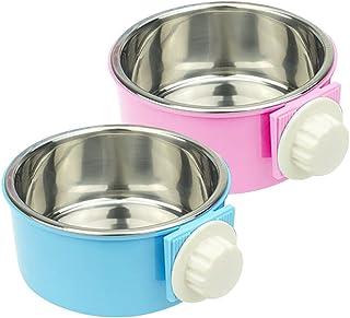 Crate 狗碗套装 可拆卸不锈钢悬挂猫笼碗 食物和喂水器 *杯 适合小狗、鸟类、老鼠、豚鼠 2 合 1 塑料碗和不锈钢碗(2 件装,蓝色/粉色)