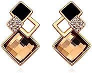 施华洛世奇棕色水晶仿黄玉 Rhombus 耳环 18 克拉镀金女式