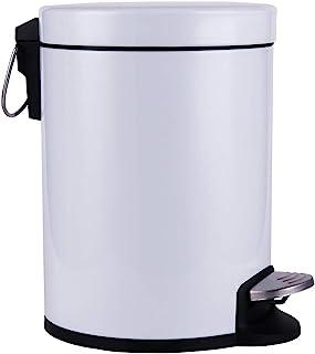 CTETC 圆形浴室垃圾桶带盖子 柔软闭合和可拆卸内部垃圾篮,适用于卧室办公室的小步垃圾桶,防指纹哑光表面,1.3 加仑/5 升,白色