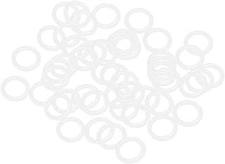 uxcell 硅胶 O 形圈,16 毫米 OD 11.2 毫米 内径,2.4 毫米宽度 VMQ 密封垫圈,用于压缩机阀门维修,白色,50 个装