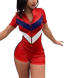 EOSIEDUR 女士夏季性感运动装 V 领短袖彩色条纹修身运动服连身衣