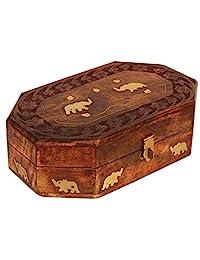 木制珠宝盒收纳盒 - 后备箱黄铜大象设计 - 纪念品盒 - 木制手工饰品珍宝*盒适用于戒指项链手链手表耳环 - 家庭客厅装饰