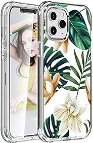 iPhone 12 Pro/iPhone 12 6.1 英寸手机壳内置屏幕保护膜,2 合 1 混合坚固手机壳,Ostop 白花透明水晶 TPU 防震后盖和坚固的硬质 PC 前保护壳
