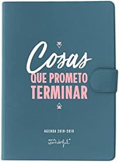 Mr. Wonderful Agenda PEQ 经典Mr. wonderful18-19 diaria-cosas I Promise Finish,蓝色,13 x 17 x 2.5 cm