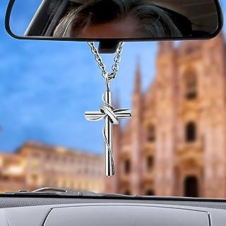 LeapoFaith 十字架吊坠汽车后视镜汽车悬挂十字架魅力男士十字架项链汽车镜挂饰饰品(大号(男式))