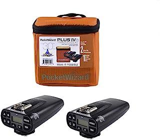 PocketWizard Plus IVe 收发器套件,增强范围和可靠性一体化套件,用于远程摄影和关闭相机闪光灯(黑色收音机和橙色 G-Wiz 方形包)