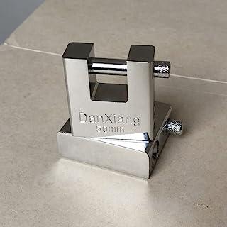 矩形挂锁水平解锁,带 3 个钥匙硬化集成锁,防剪防盗 - 保护车库、容器、棚子、百叶窗、储物柜、门和仓库