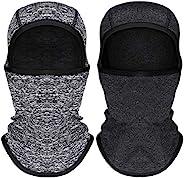2 件兒童巴拉克拉法帽防風滑雪面罩適用于寒冷天氣兒童羊毛頸部保暖器帶頭盔內襯兜帽,適合男孩女孩,2 種顏色