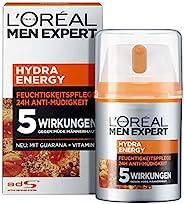 L'Oréal Paris 巴黎欧莱雅 男士专家 Hydra Energy 保湿舒缓面霜,适用于正常至紧张的男士肤质,含维生素C和瓜拉那,1瓶装/