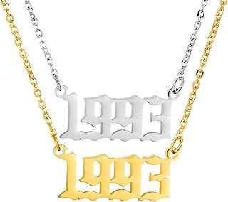 JUESJ 2 件装不锈钢年数字吊坠项链,个性友谊爱好者儿童周年纪念项链,适合女士、男士、女孩生日礼物